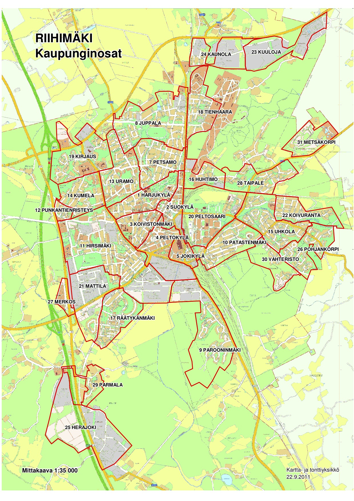 Kaupunginosat Ja Kylat Riihimakiseura